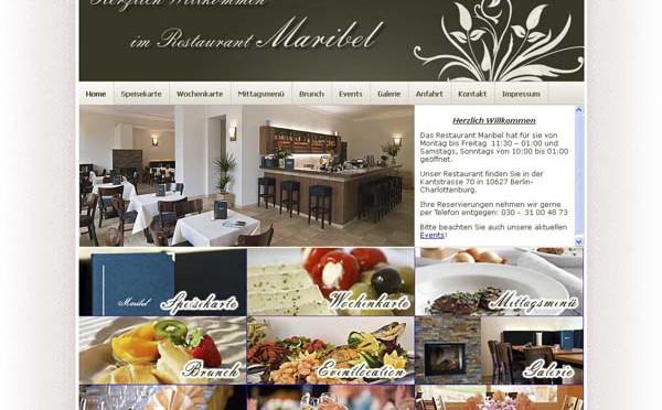2008 Webdesign der Seite www.restaurant-maribel.de