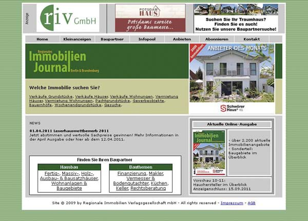 2006 Webdesign der Seite Immobilien-Journal.de