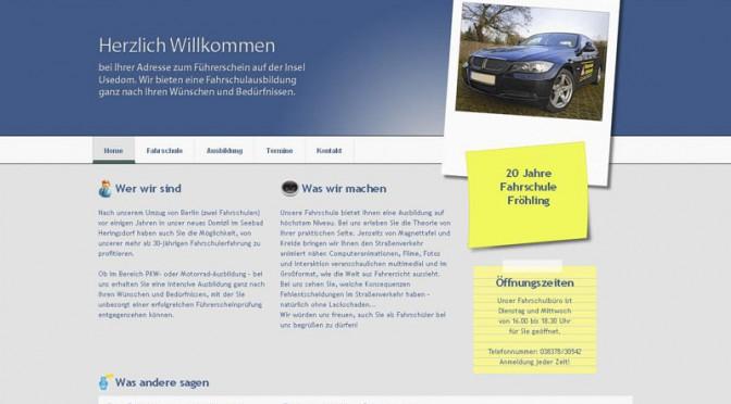 2010 Webdesign der Seite www.froehlings-fahrschule.de