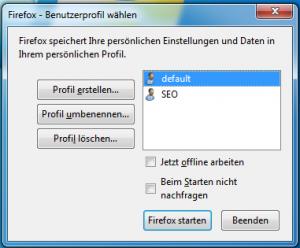 Mit dem Firefox Profile Manager kann man verschiedene Profile auswählen und erstellen